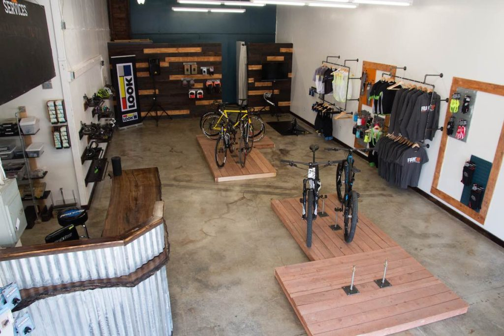 Early Frame Up Bikes - High View of Showroom