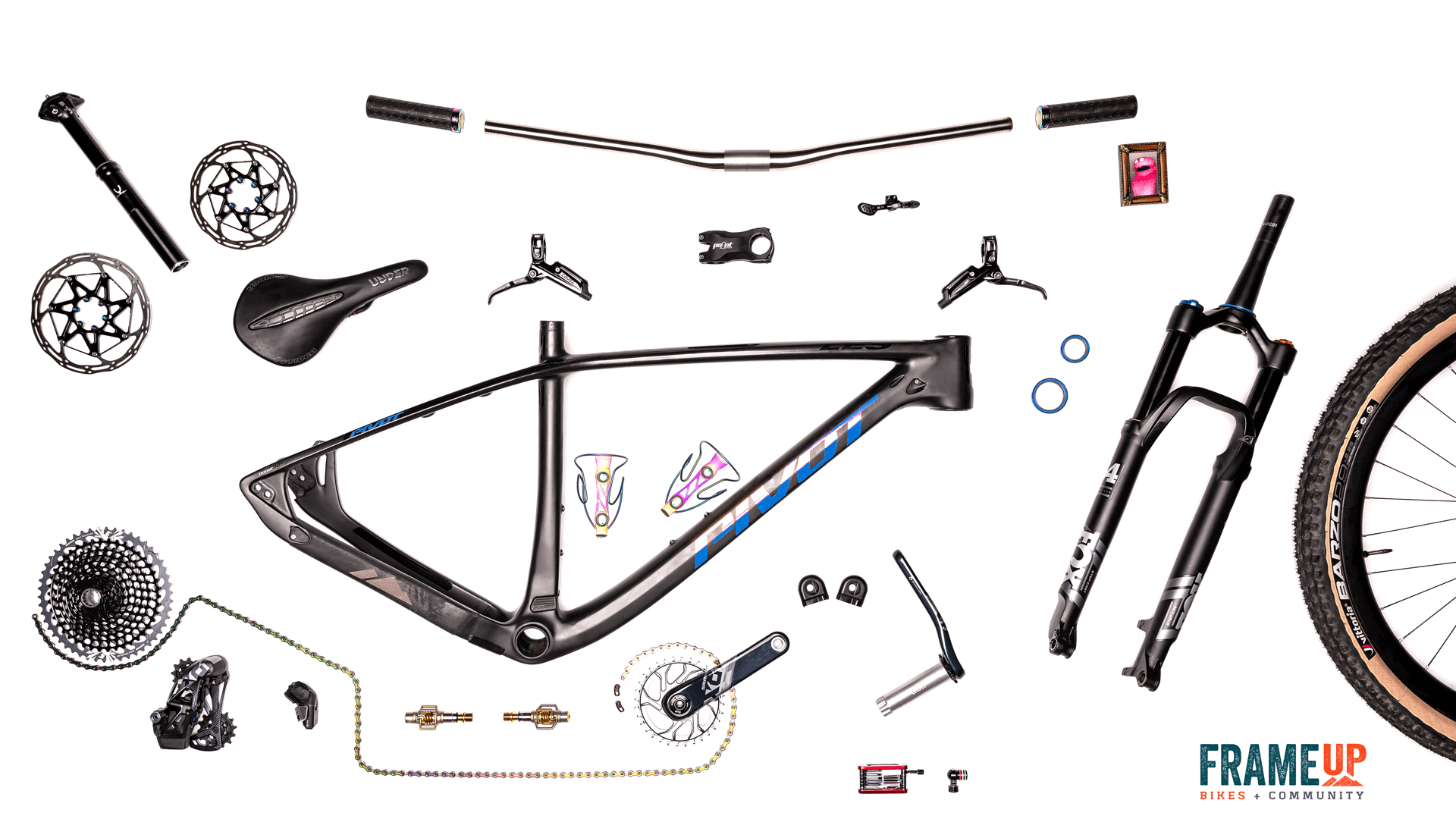 "Pivot LES 29"" (SRAM Eagle AXS XO1) Exploded Background"