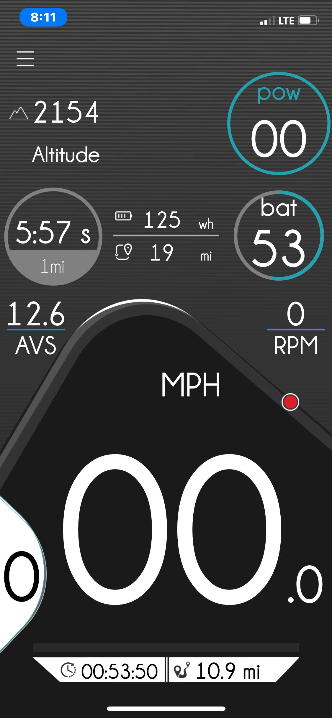 eBikemotion App Screen showing data when the junction was reached