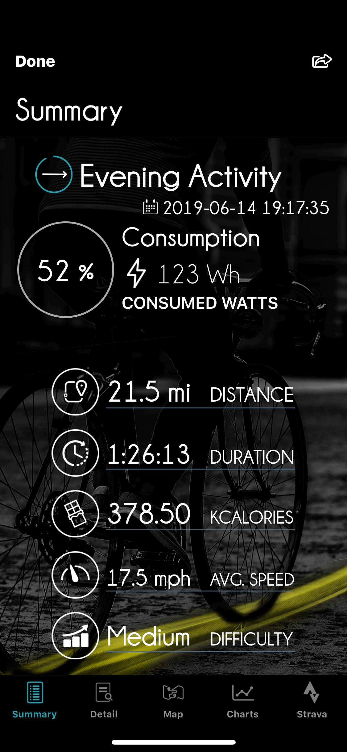 eBikemotion App Screen showing total ride power output
