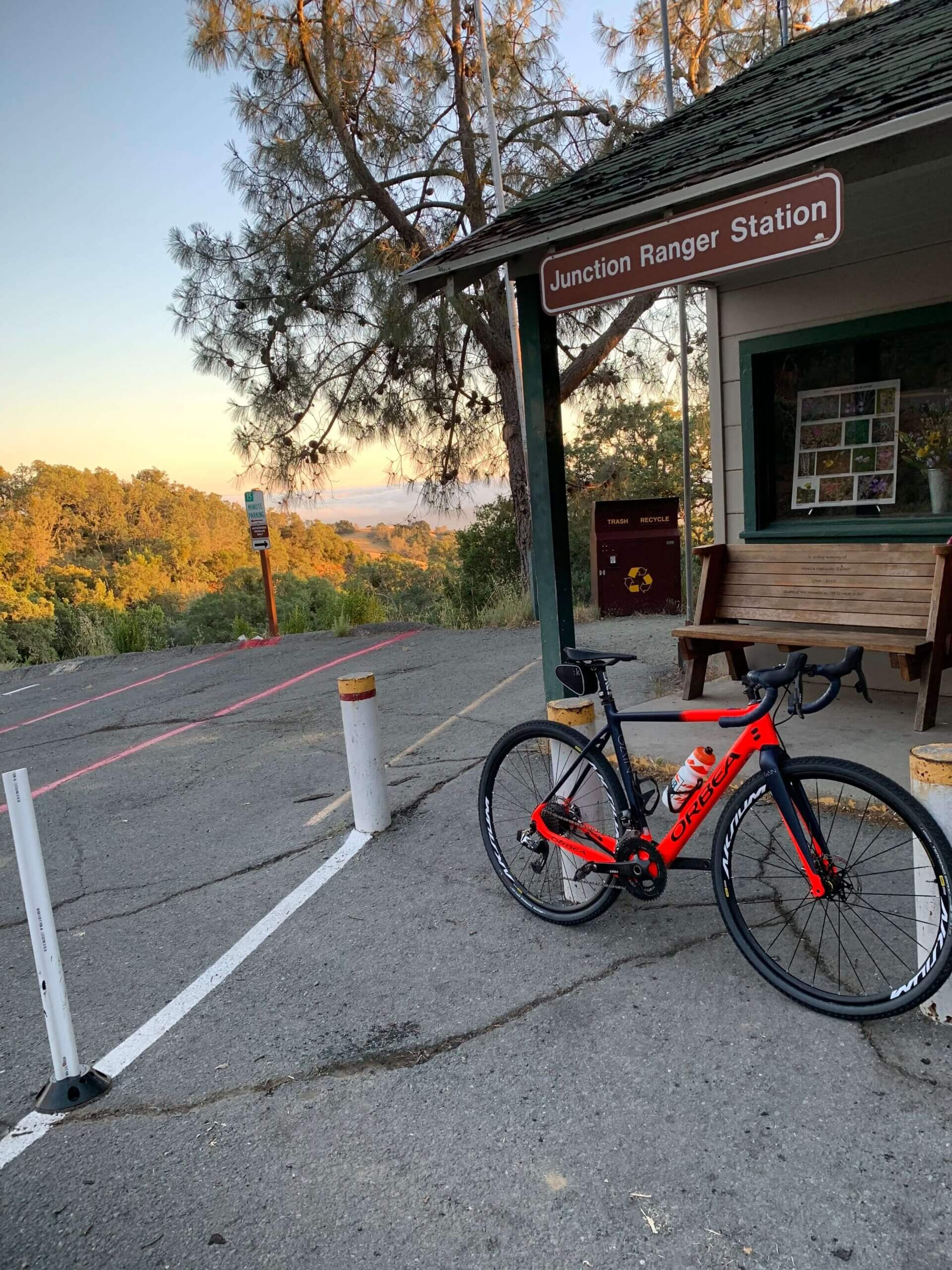 The Orbea Gain M21 (with modifications) resting at the Mt. Diablo junction