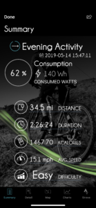 Orbea Gain iPhone app display of data following ride on route Pig Farm and The Bears